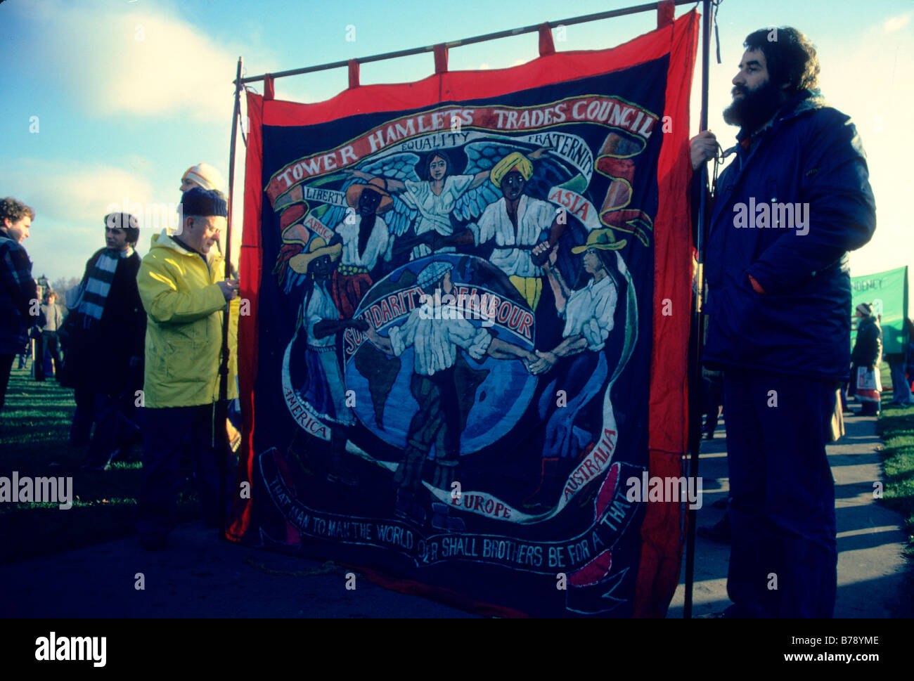 London UK 25 10 1992 Dan Jones local artist holds his Tower Hamlets Trade Council banner at the trade TUC demo for - Stock Image