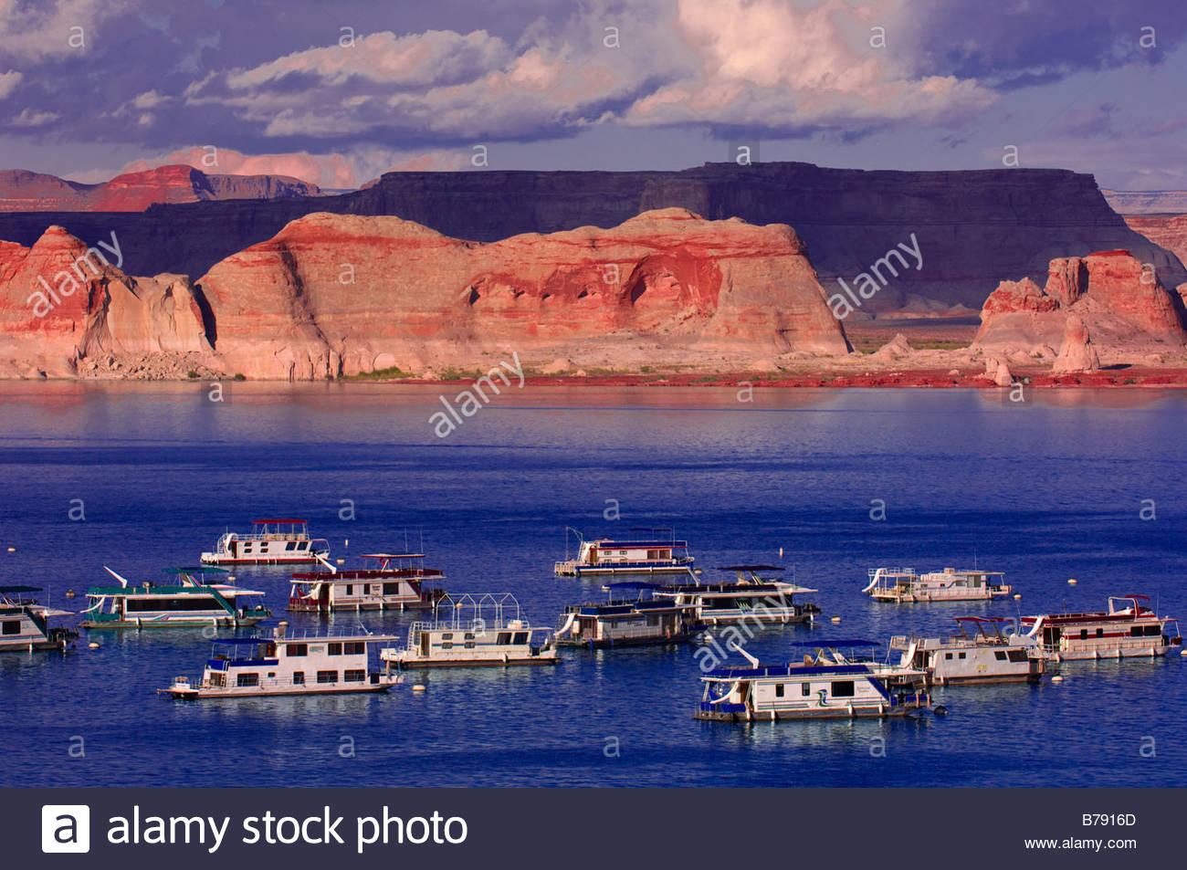 Houseboats At Wahweap Marina Lake Powell Glen Canyon National Stock