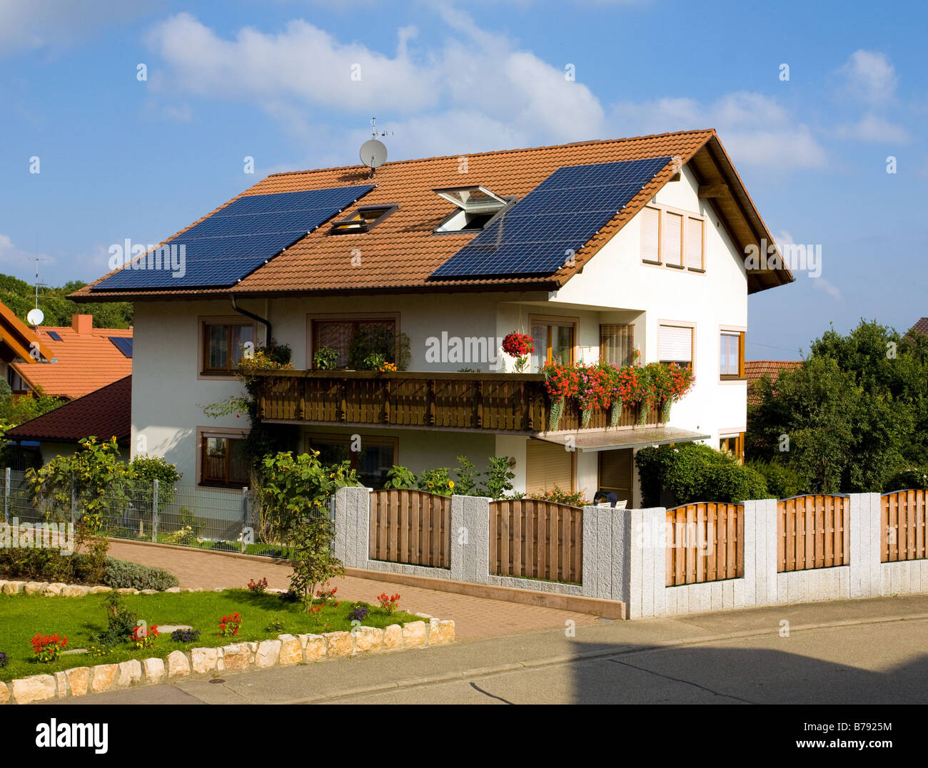 House with solar cells - Stock Image