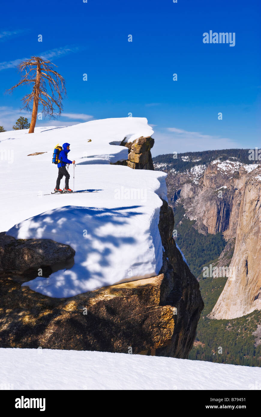Backcountry skier at Taft Point Yosemite National Park California - Stock Image