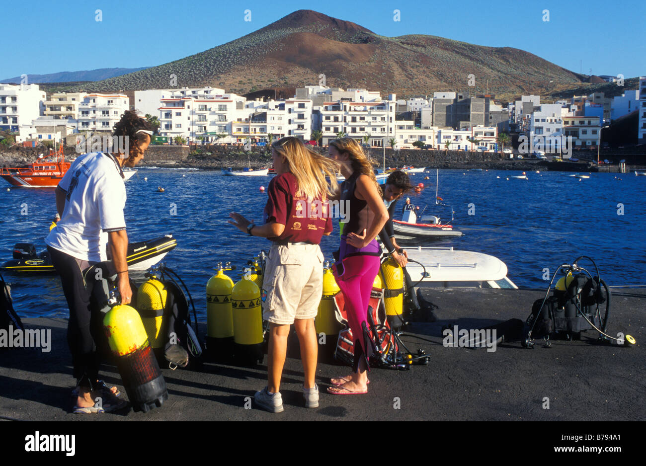 Skin Diver, Harbour, La Restinga, El Hierro Island, Canary Islands, Spain, Europe Stock Photo