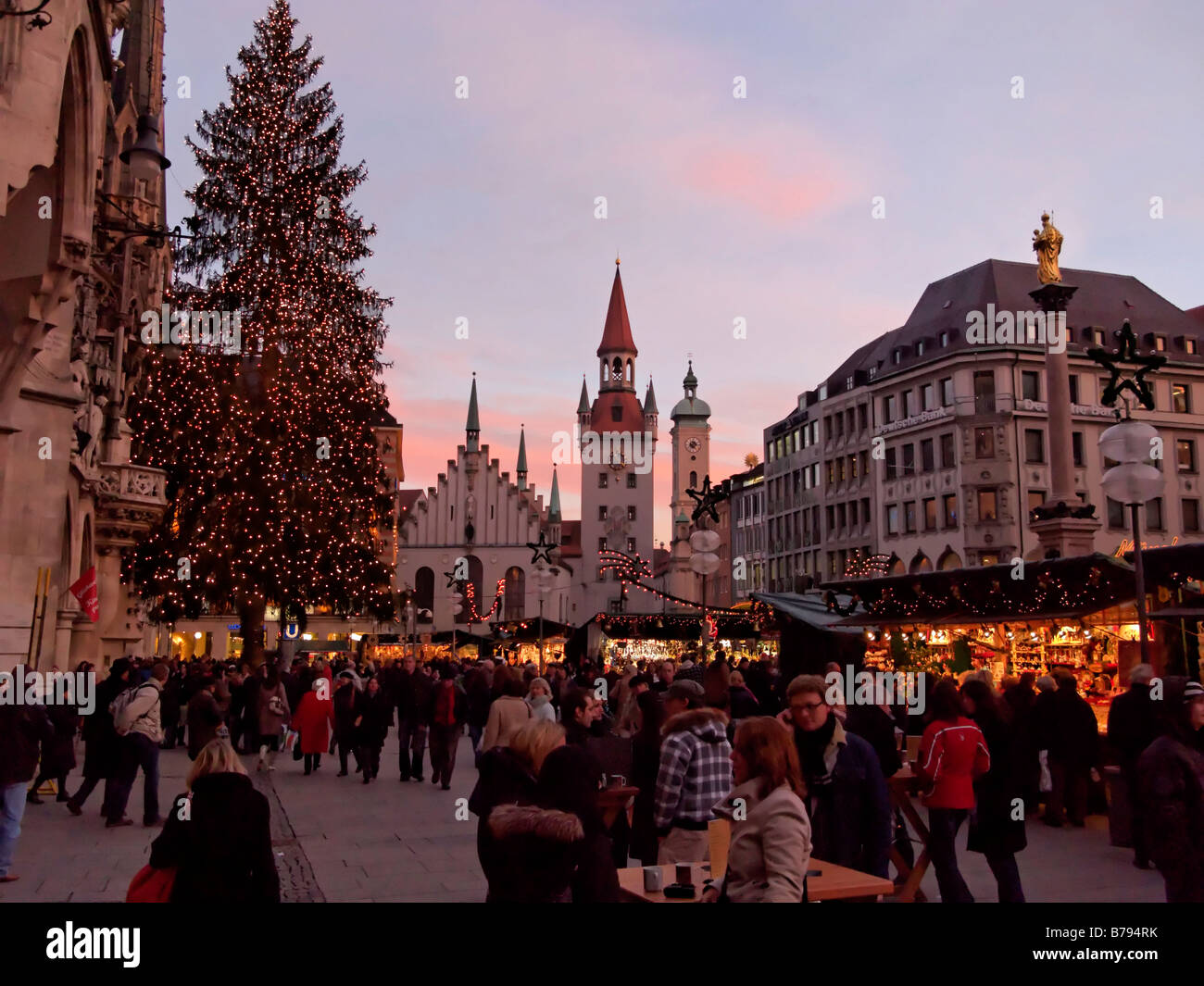 Christmas Markets Marienplatz Munich Bavaria Germany, Europe - Stock Image