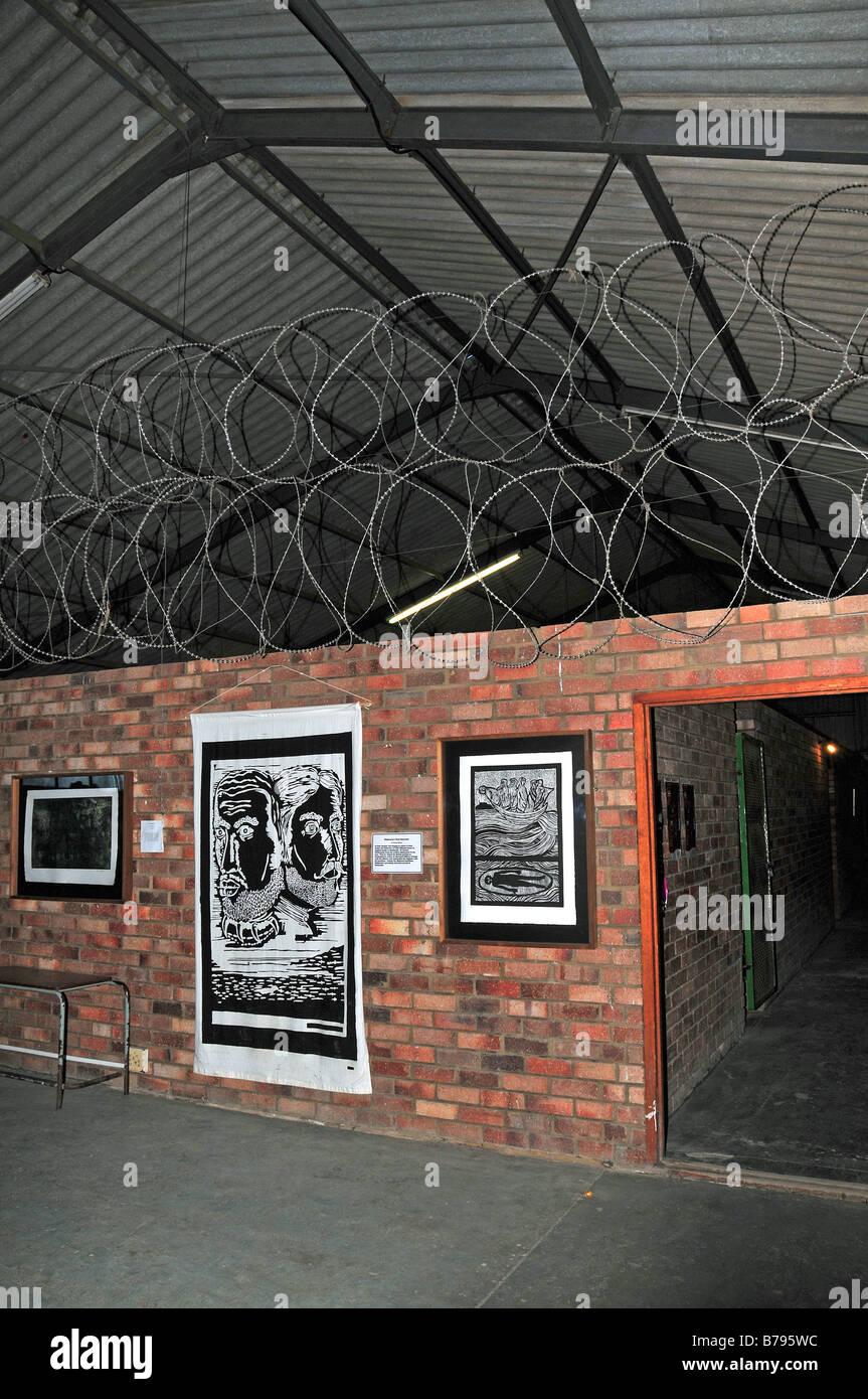 African artwork below apartheid razor wire at the Egazini Artwork ...
