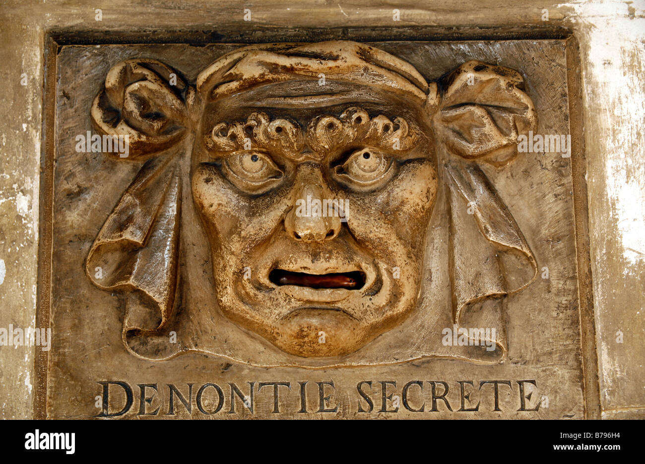 Denontie Secrete, letterbox in the Palazzo Ducale, Venice, Italy Stock Photo
