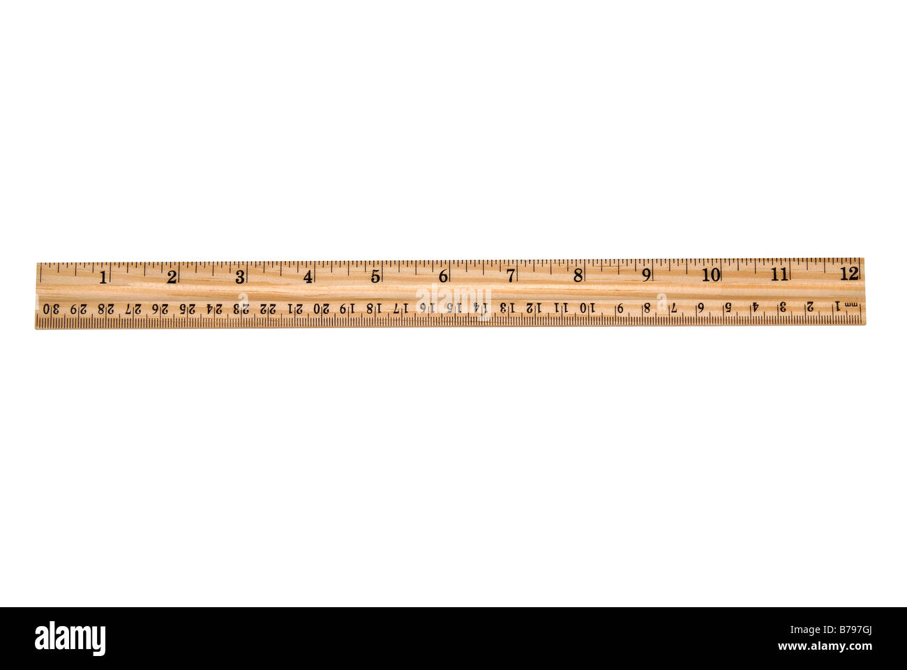 An brand new wooden ruler isolated on white Very clean and crisp - Stock Image