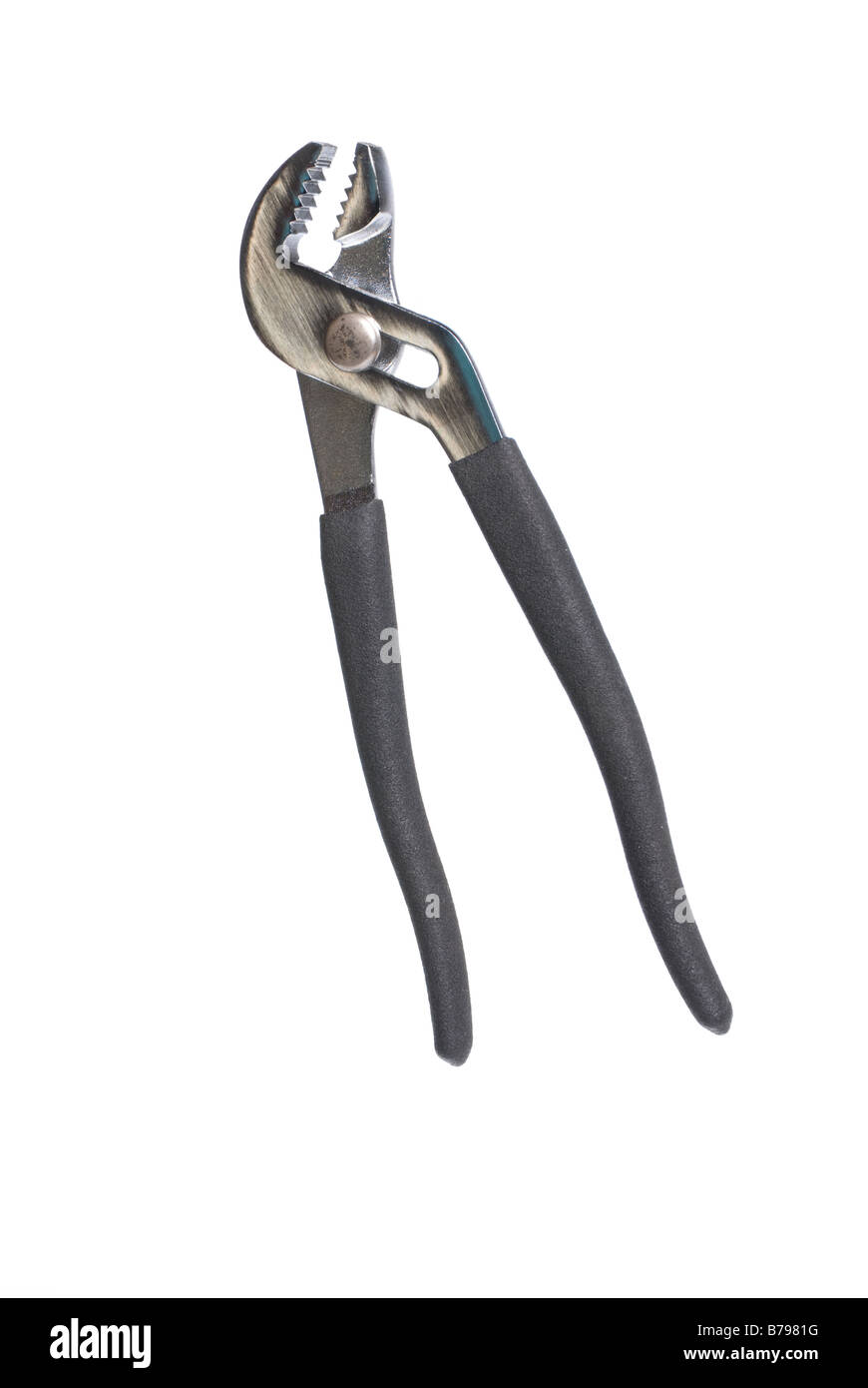 New pliers with sponge grips isolated against a white background can be used for any tooling or fabrication inference - Stock Image