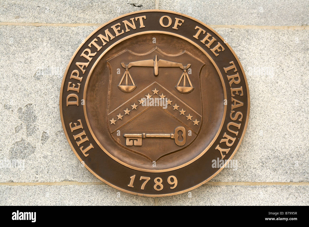 U.S. Department of the Treasury Seal Washington DC - Stock Image