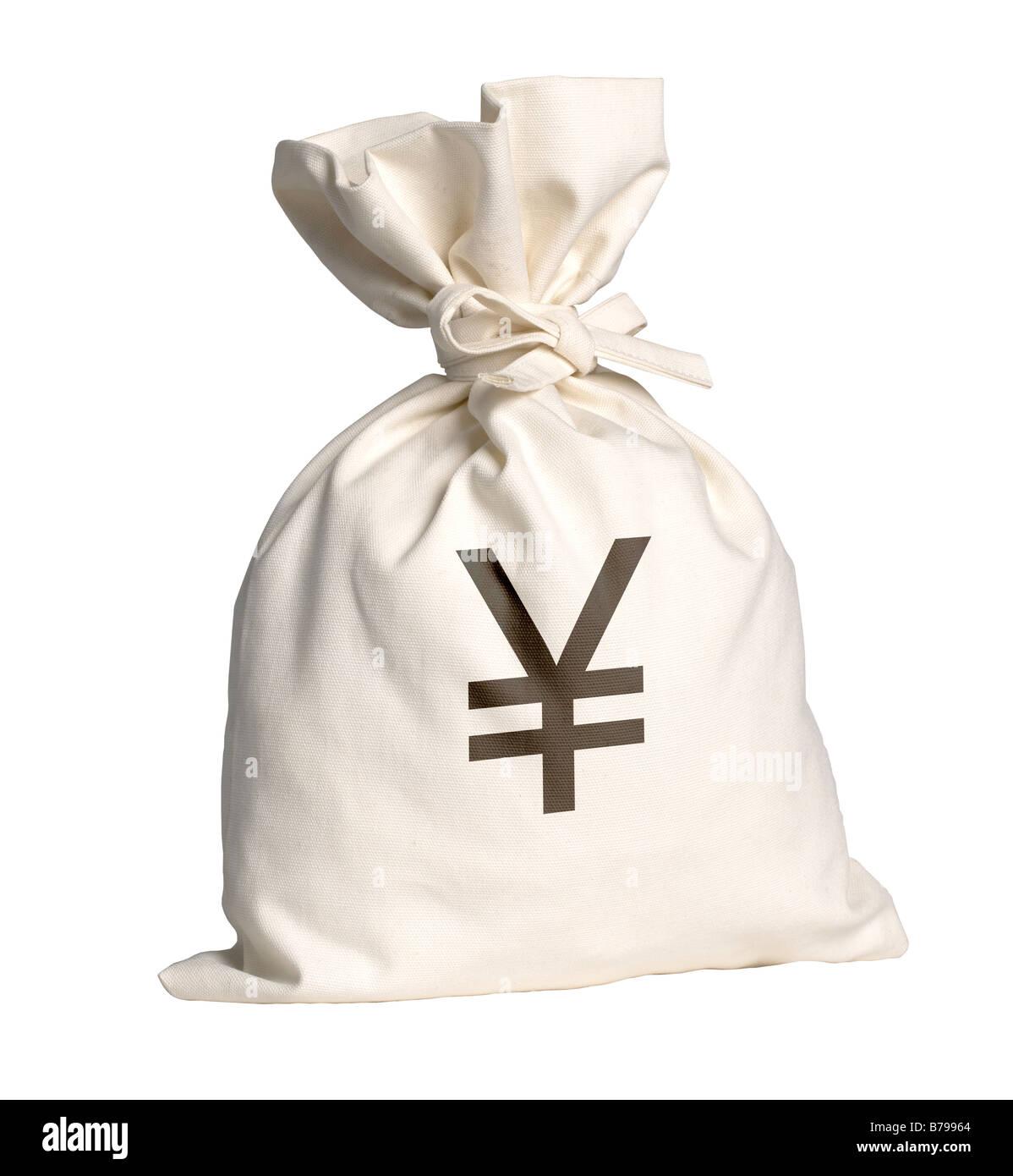 Money bag with Yen symbol - Stock Image