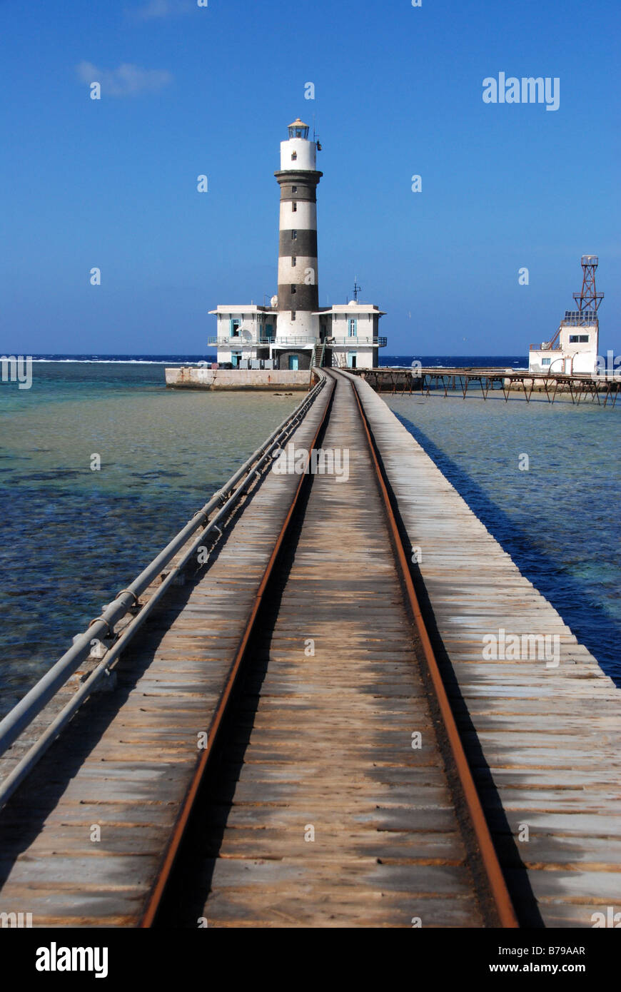 Lighthouse of Daedalus reef, Soutern Egyptian Red Sea - Stock Image