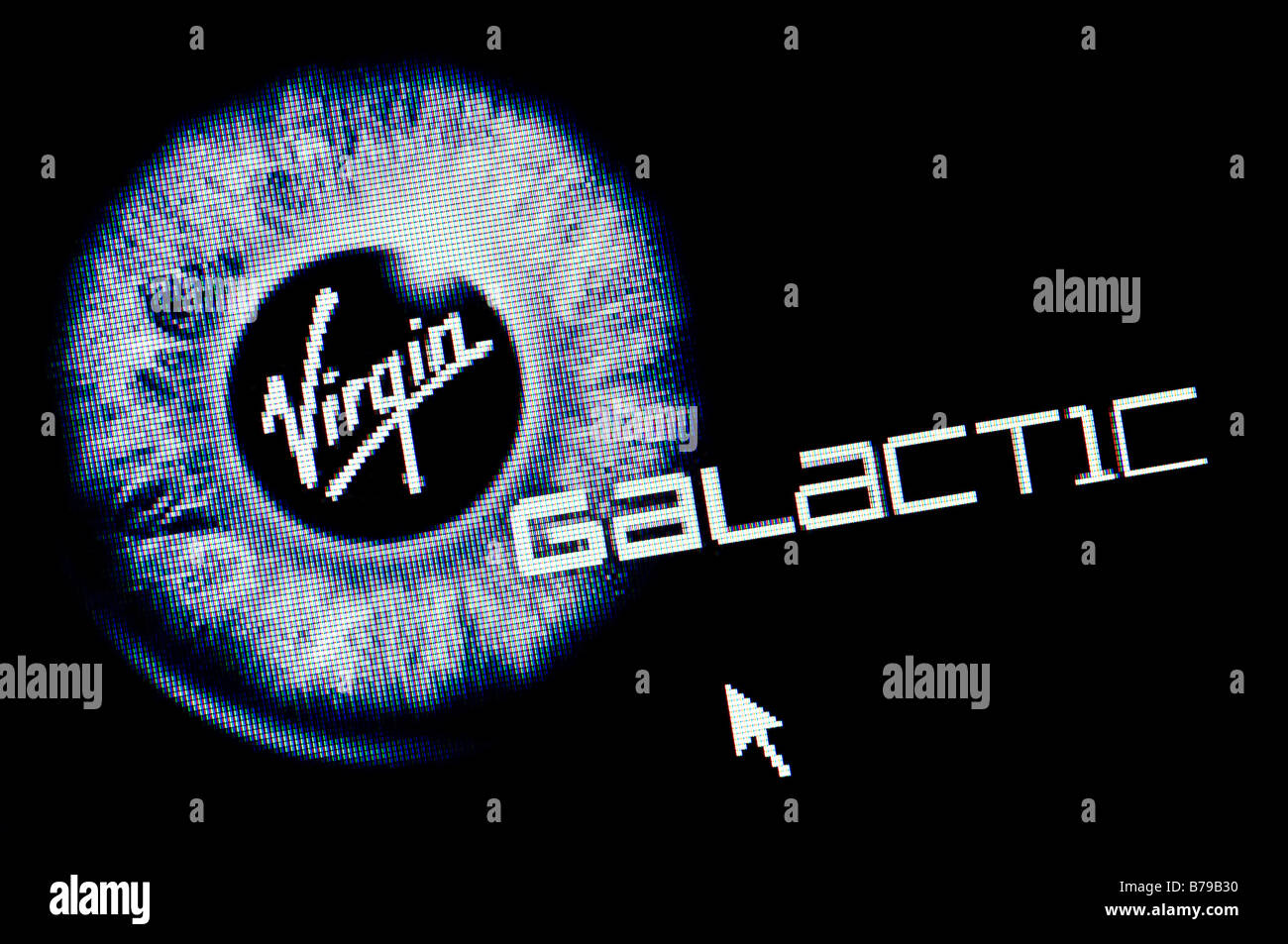 Macro screenshot of Virgin Galactic website (Editorial use only) - Stock Image