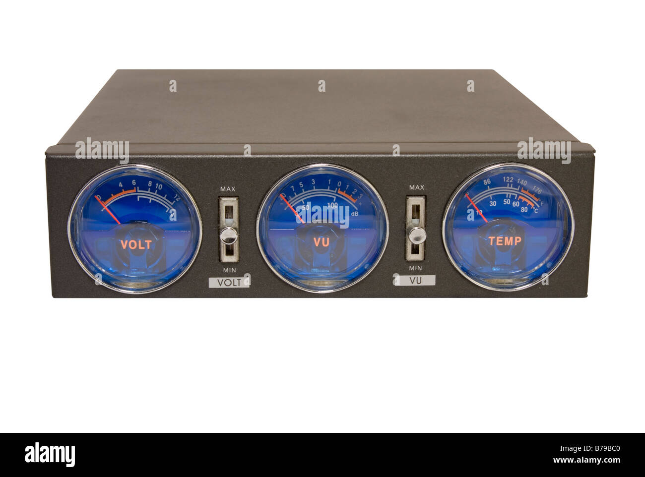 Blue VU meters in a box isolated on white. - Stock Image