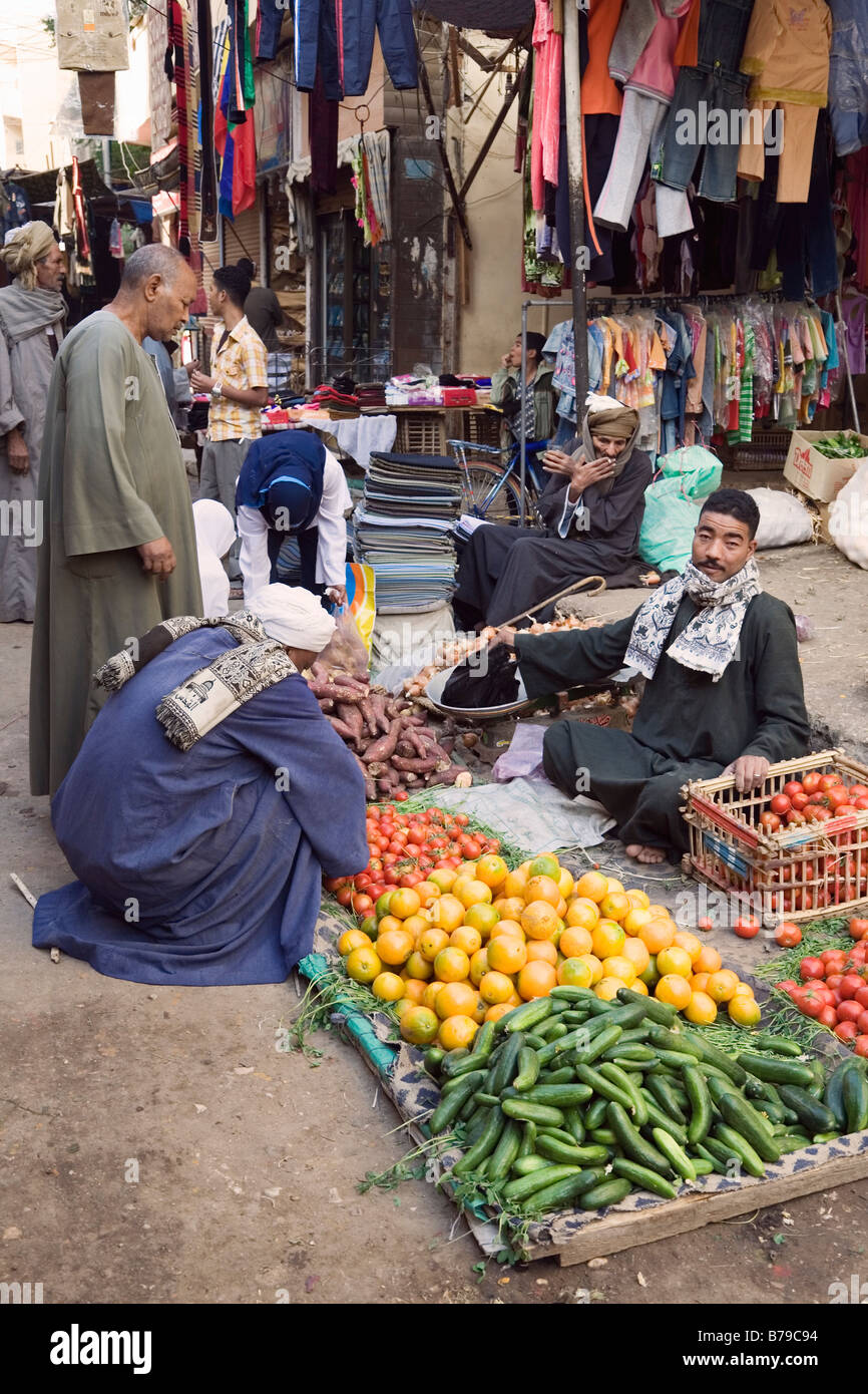 Luxor, Egypt, North Africa. Fruit and vegetables for sale in the bazaar Stock Photo