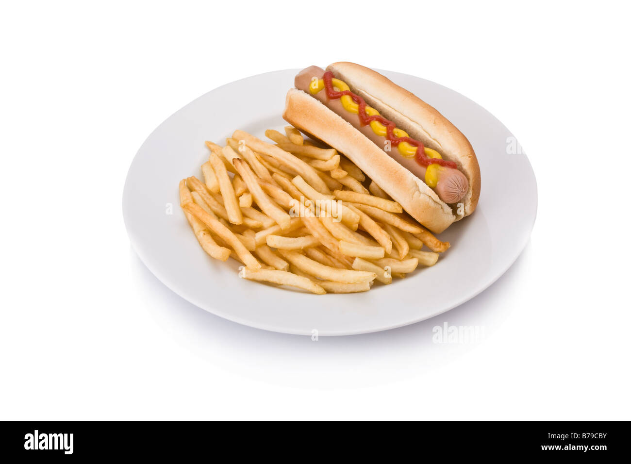 Fast food meal with Hotdog and French fries in a dish - Stock Image