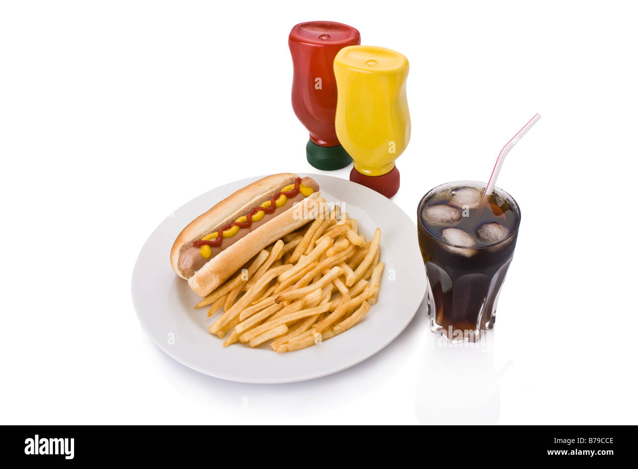 Fast food meal with Hotdog, French fries and a Cola in a dish - Stock Image