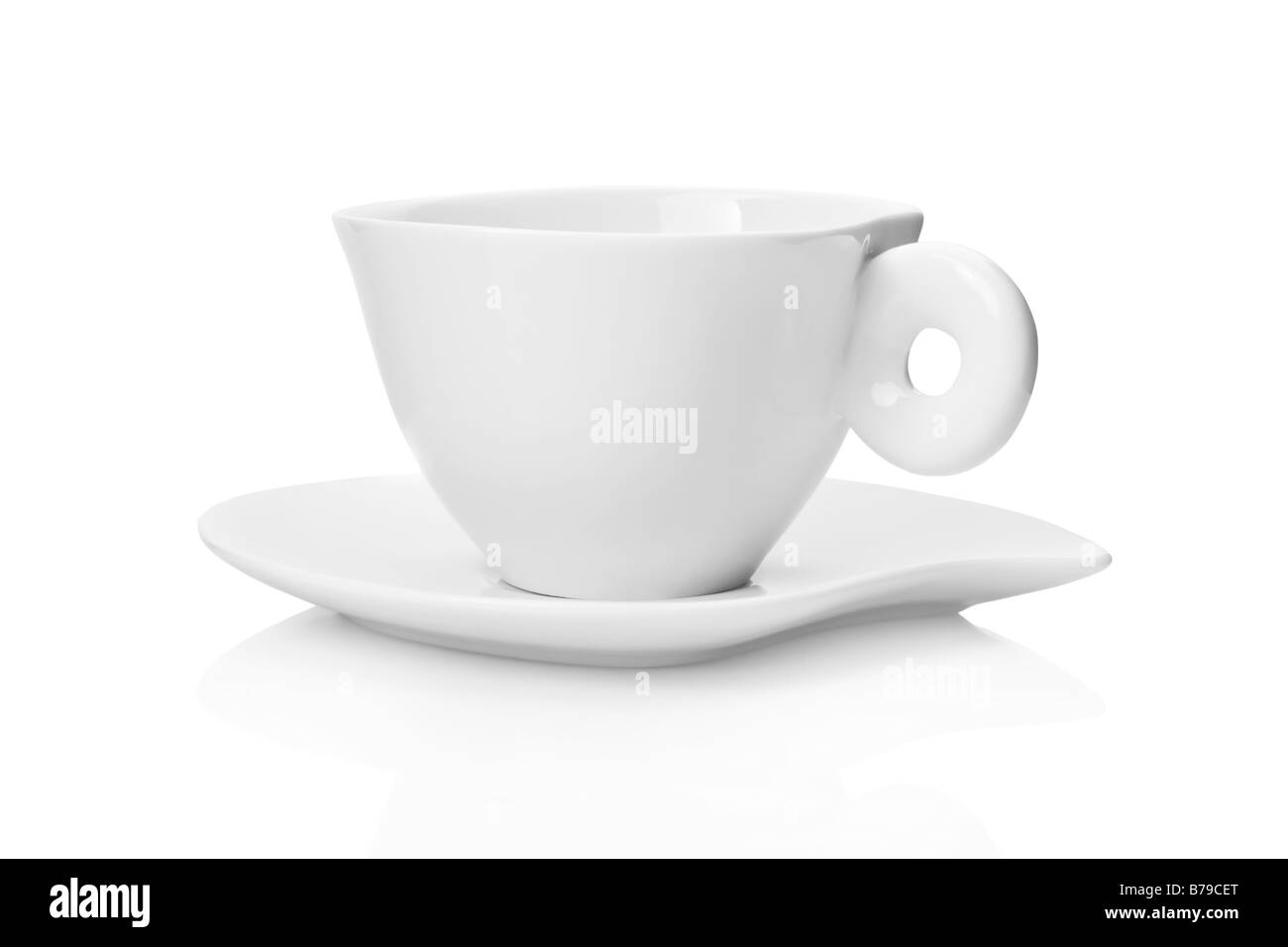 White tea cup and saucer isolated on white background - Stock Image