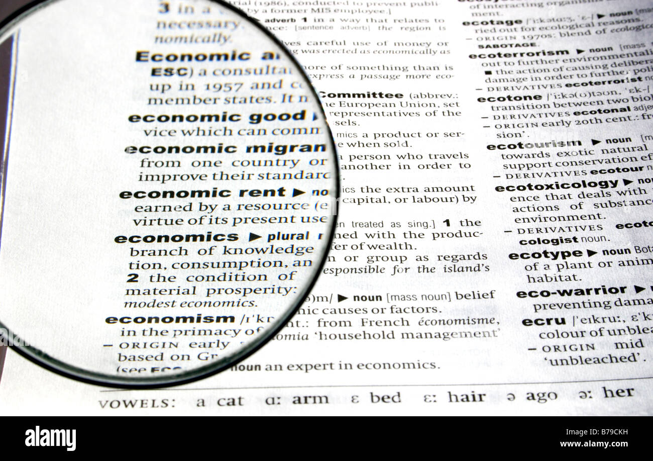 Part Definition Of Economics Viewed Through A Magnifying Glass.   Stock  Image