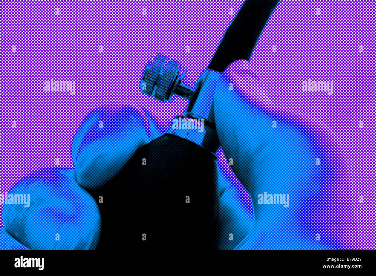 closeup view of pressure valve on a mercury blood pressure monitor Sphygmomanometer - Stock Image