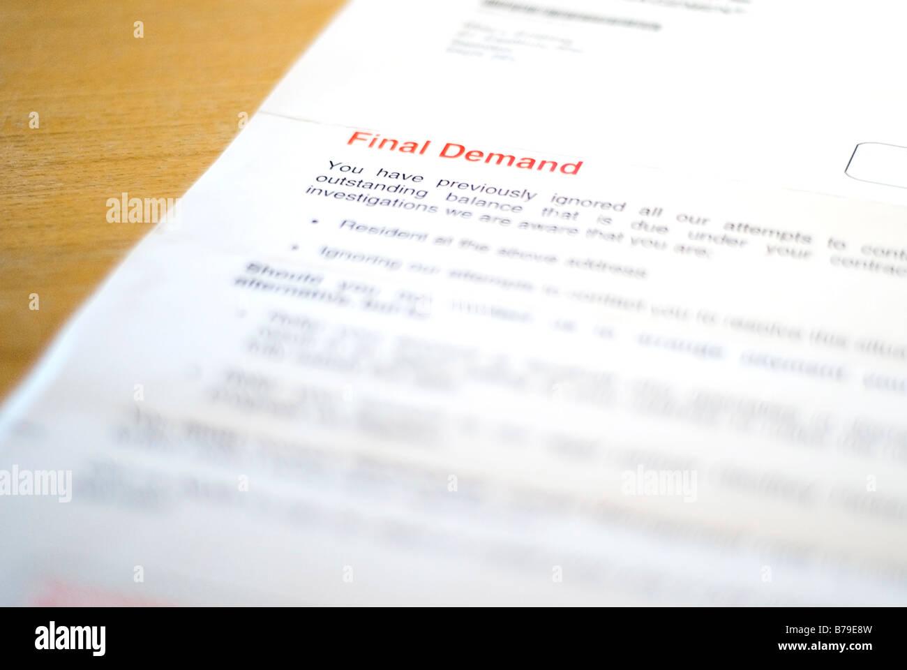 final demand letter - Stock Image