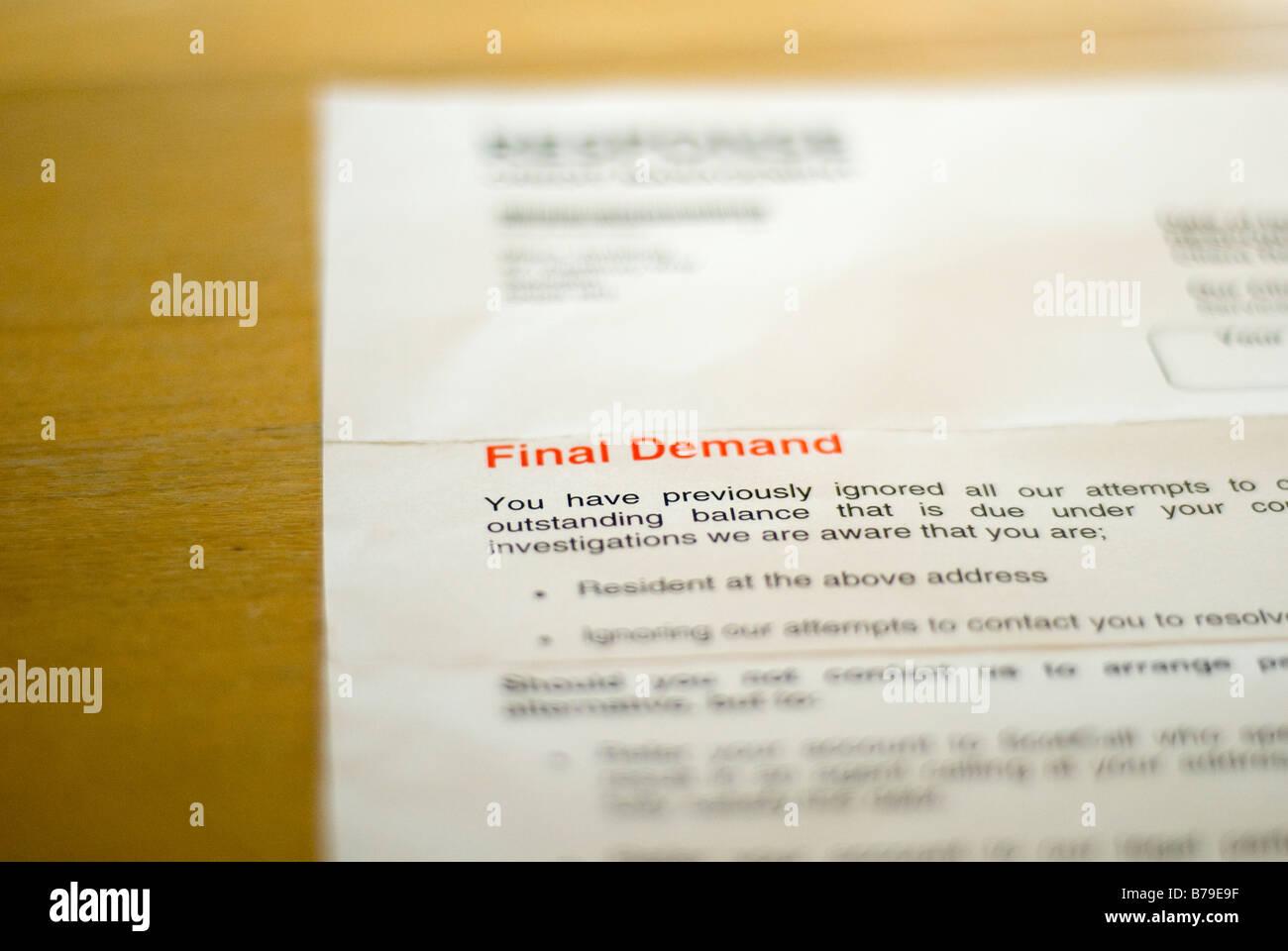 Final warning letter - Stock Image