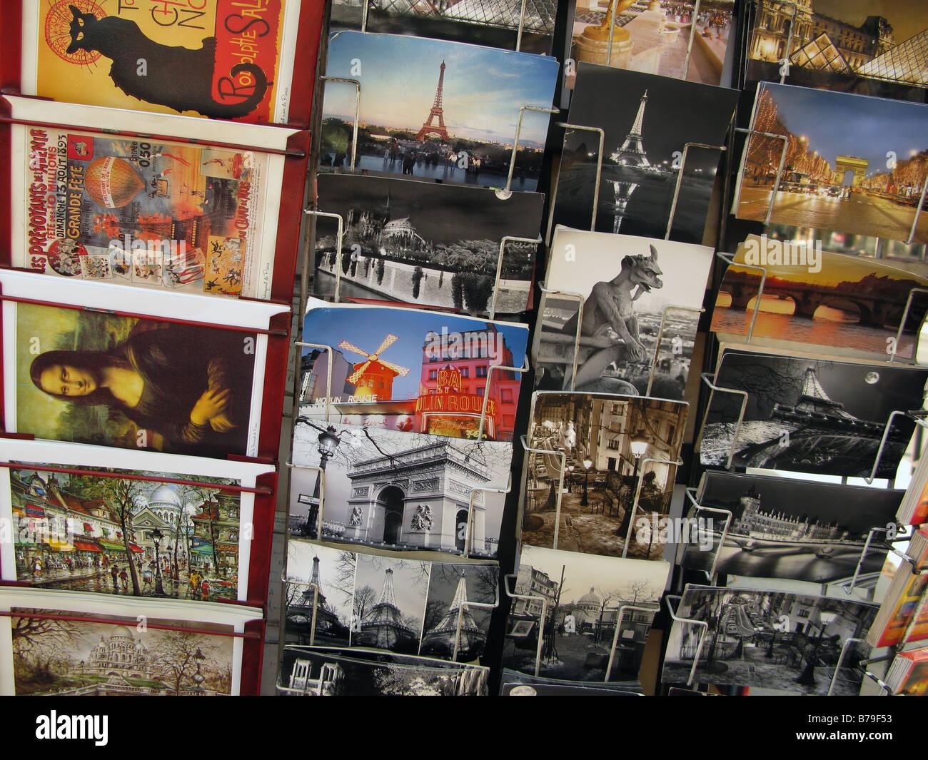 Postcards, Paris, France - Stock Image
