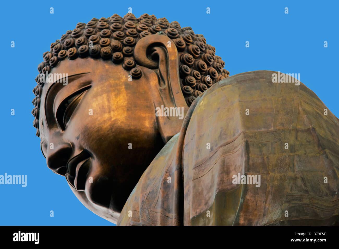 Statue of Big Buddha Po Lin Monastery Lantau Island  Hong Kong - Stock Image