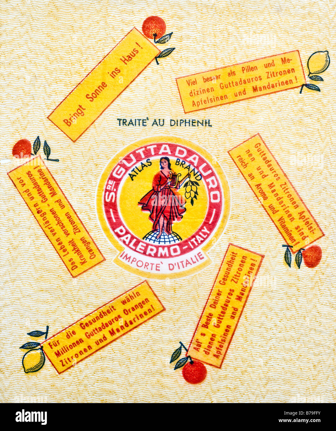 Printed ephemera / Citrus fruit wrapper from Italy - Woman playing Lyre illustration on tissue paper. Stock Photo
