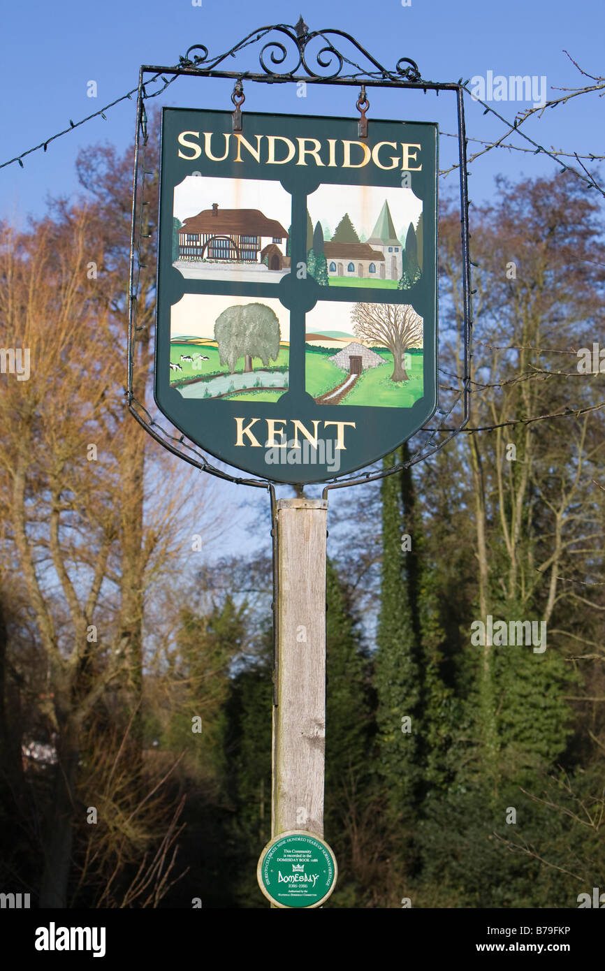 Village sign, Sundridge Kent UK and plaque celebrating that the Community was recorded in the Doomsday Book of 1086 - Stock Image