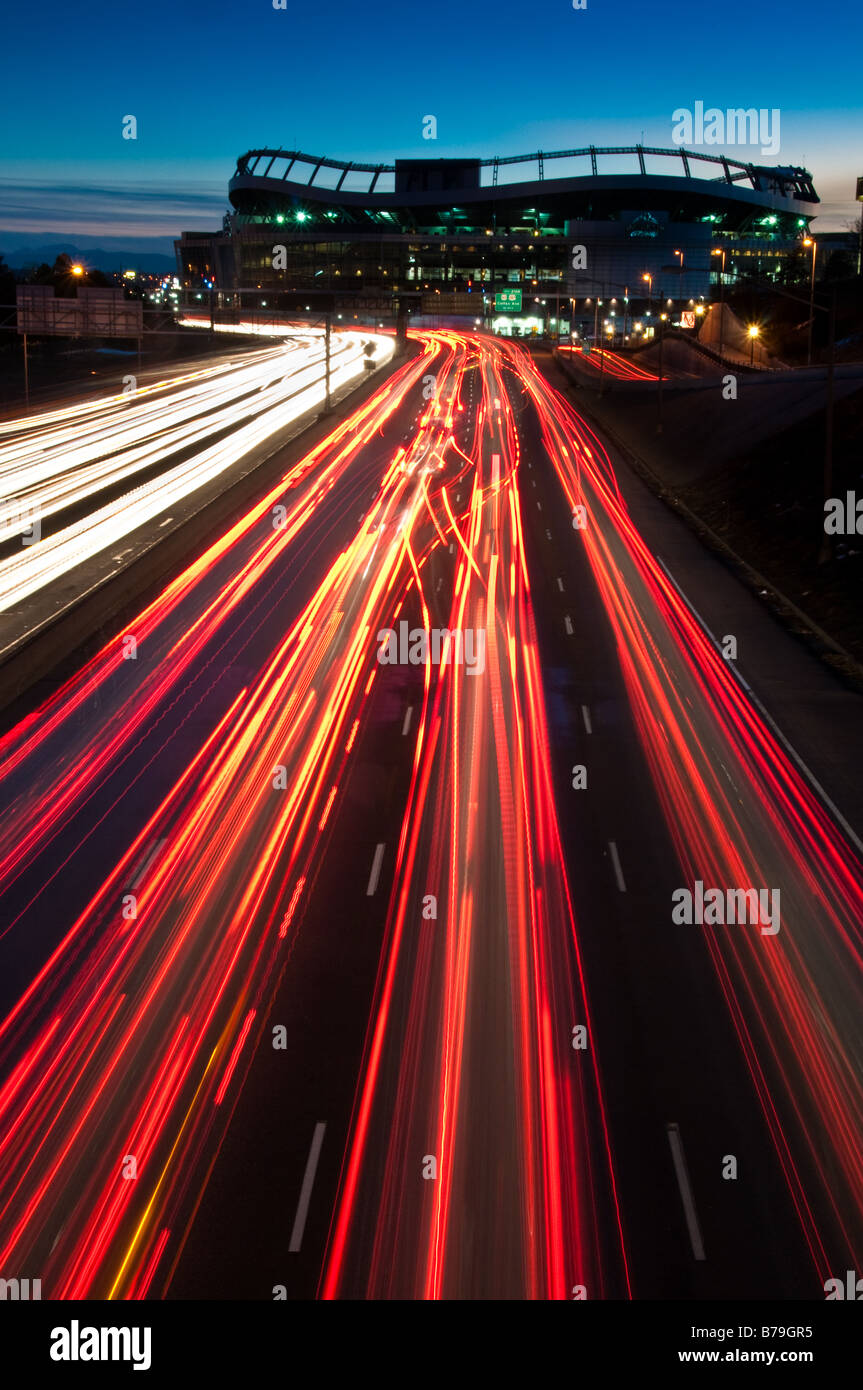Invesco field and I-25 traffic - Stock Image