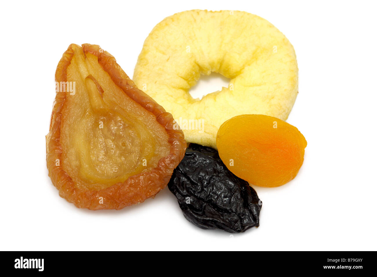 Mixed dried fruit, Pear, Apple Ring, Prune, Apricot - Stock Image