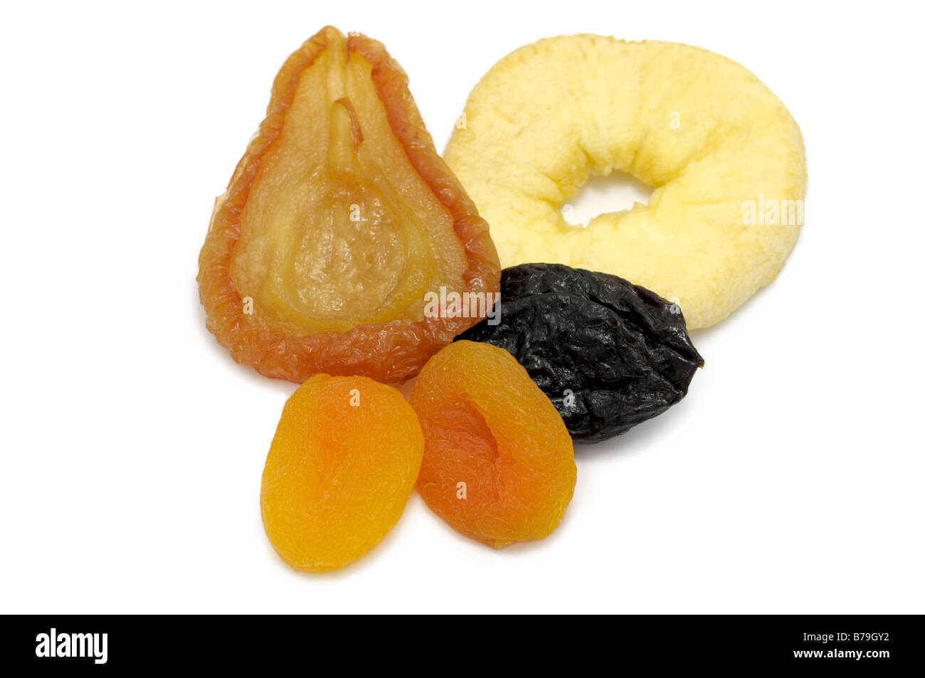 Mixed dried fruit, Pear, Apple Ring, Prune, Apricots - Stock Image