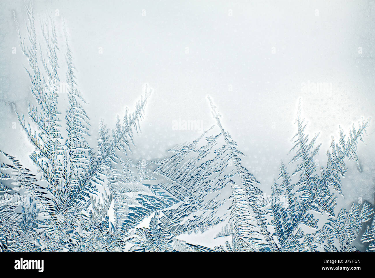 Ice crystals in window - Stock Image