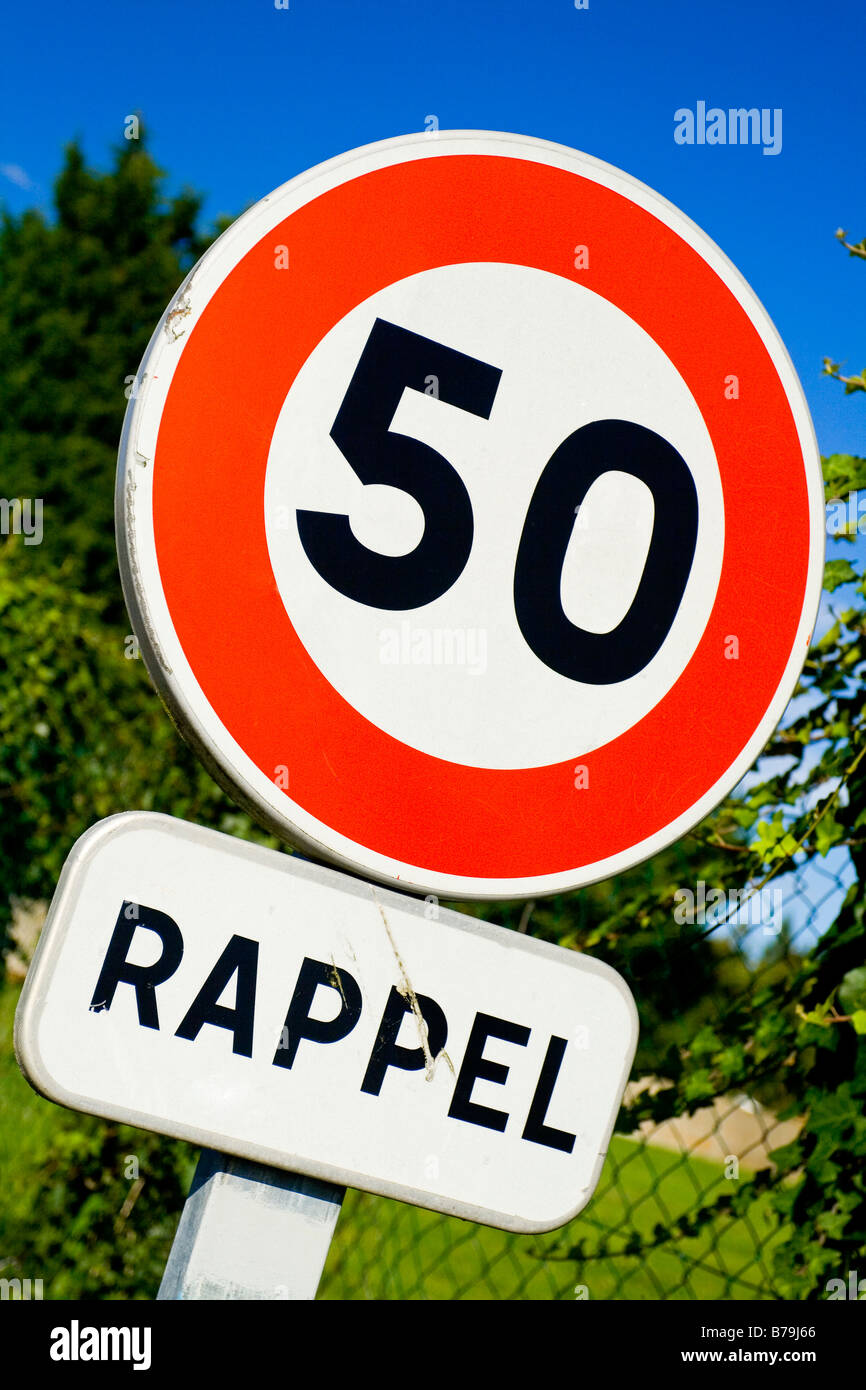 French road sign indicating 50 km per hour speed limit - Stock Image