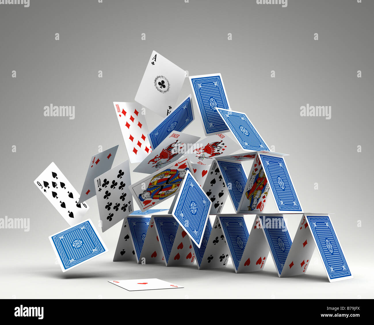 photorealistic 3d render of a house of cards collapsing