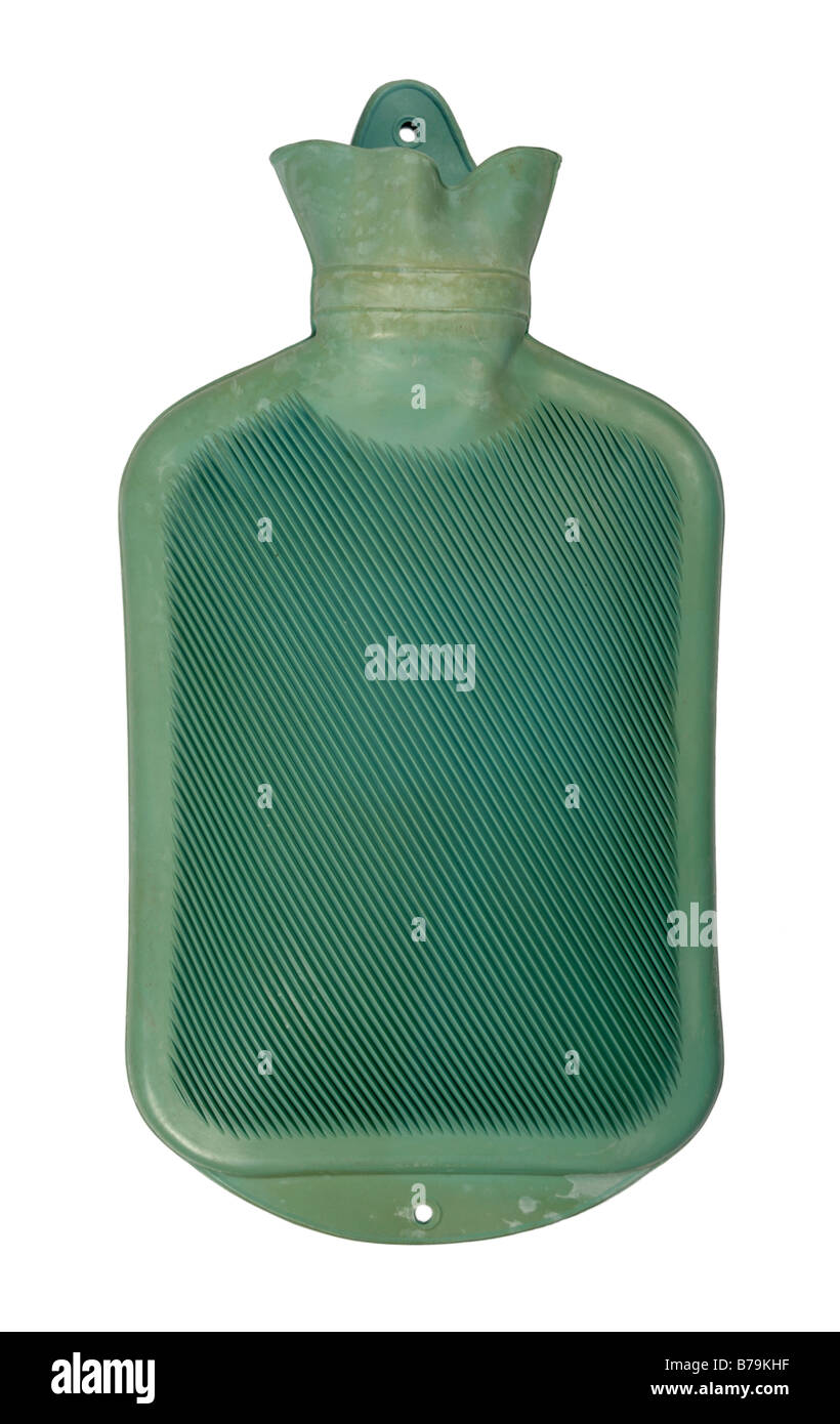 Green hot water bottle - Stock Image