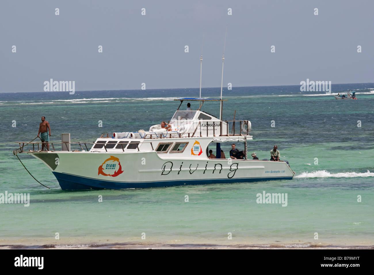 Divers boat Diani Beach South Coast Mombasa Kenya - Stock Image