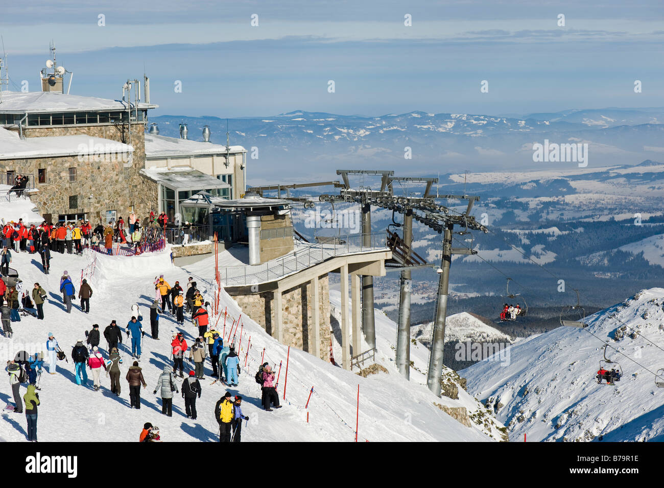 Holidaymakers Enjoy Winter Sports On Slopes Of Kasprowy Wierch Stock