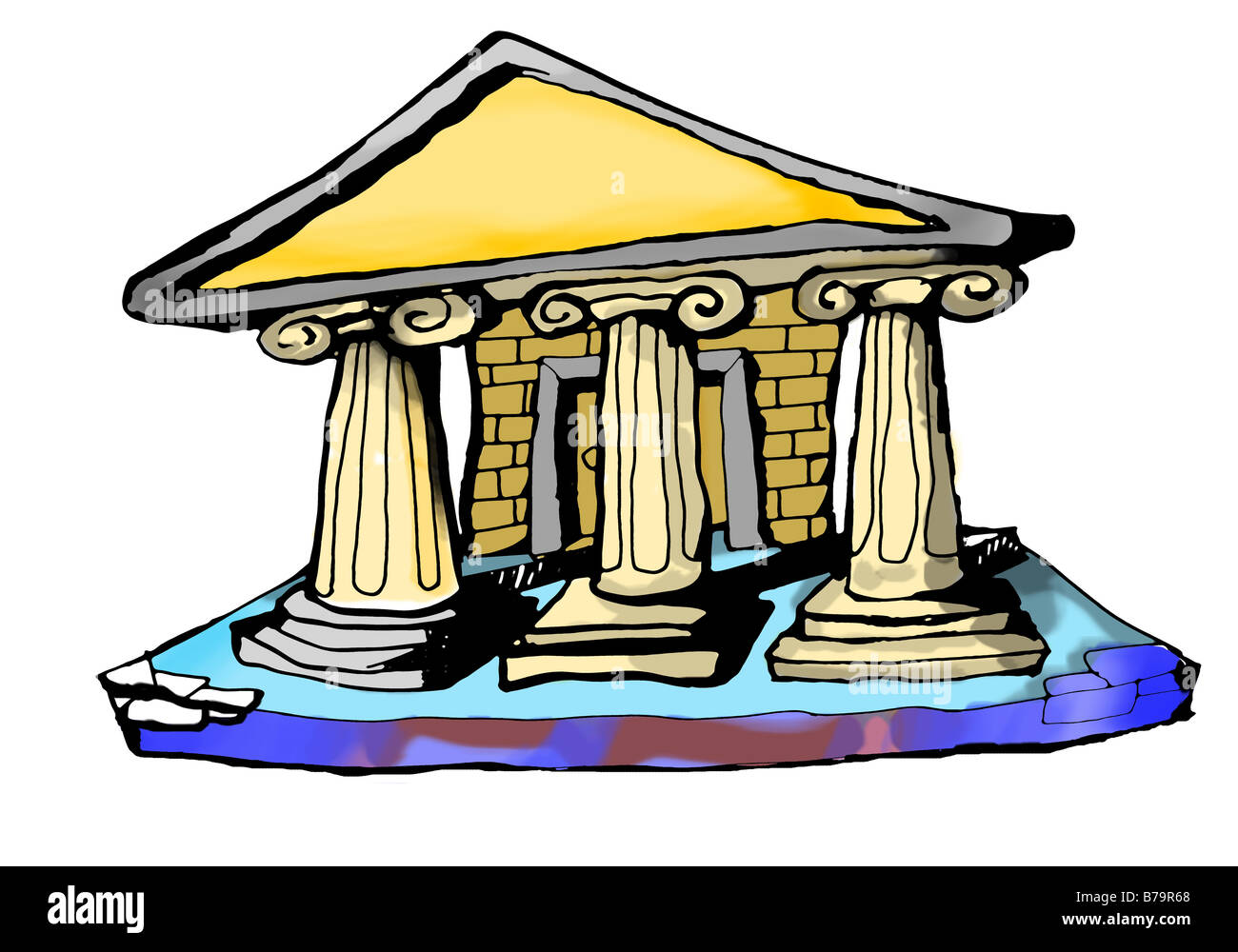 a cut out illustration of an ancient temple - Stock Image
