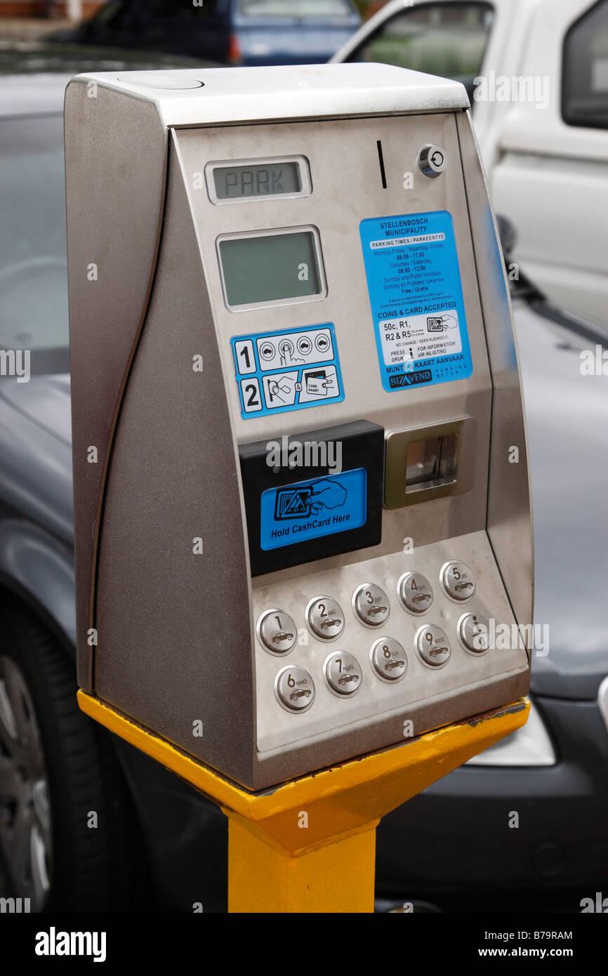 modern parking meter pay point in a public car park stellenbosch south africa - Stock Image