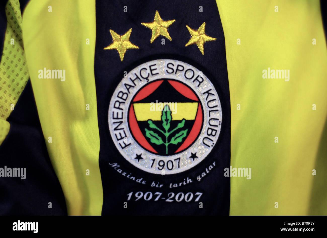 The club badge of Fenerbahce Football Club (Spor Kulubu), worn on a shirt in Eminonu, Istanbul. - Stock Image