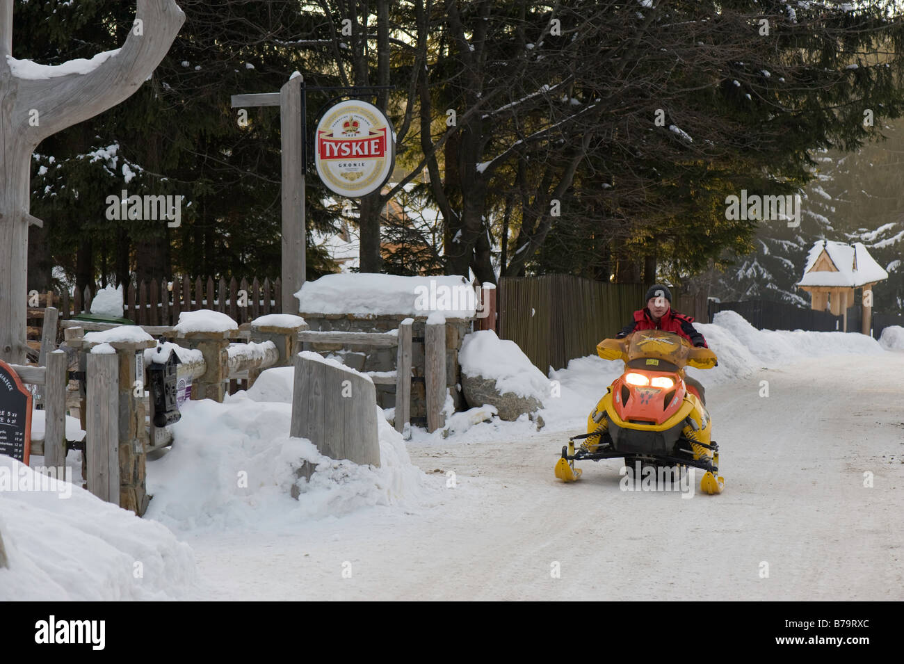 Snowmobile ride on Gubalowka Hill Zakopane Tatra Mountains Podhale Region Poland Stock Photo