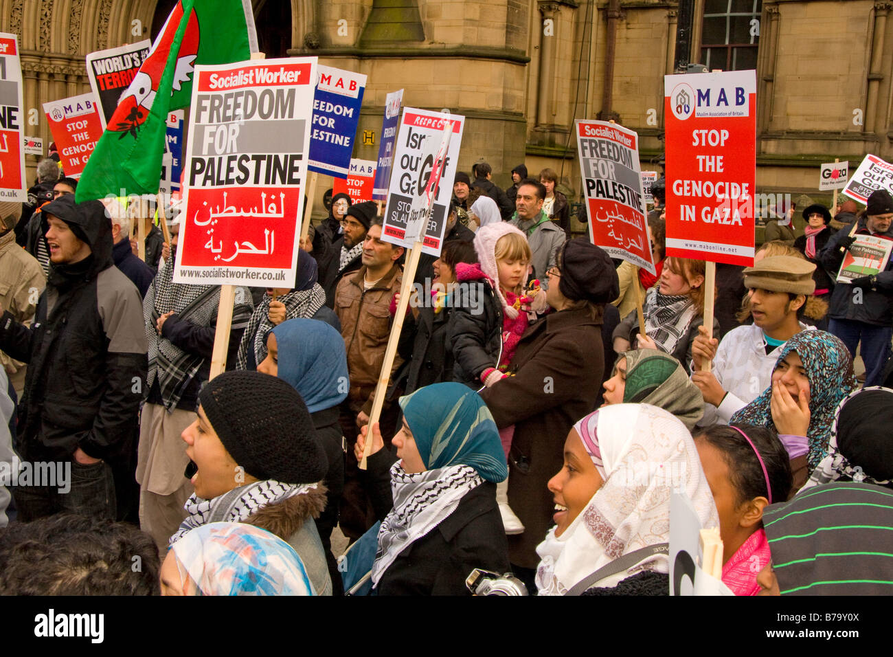 Anti Israel war against Gaza rally,  in Albert Square, Manchester on Sunday 20th January 2009 - Stock Image