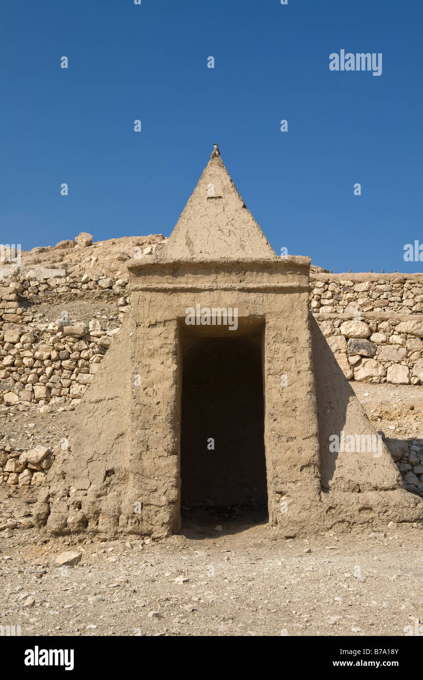 Pyramid tomb at Deir el Medina: The Workers' Village on the West Bank Luxor, Egypt - Stock Image
