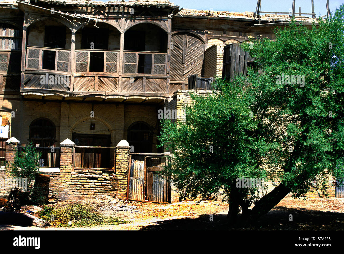 Basrah Iraq Old Wooden Merchants Houses From Ottoman Period - Stock Image