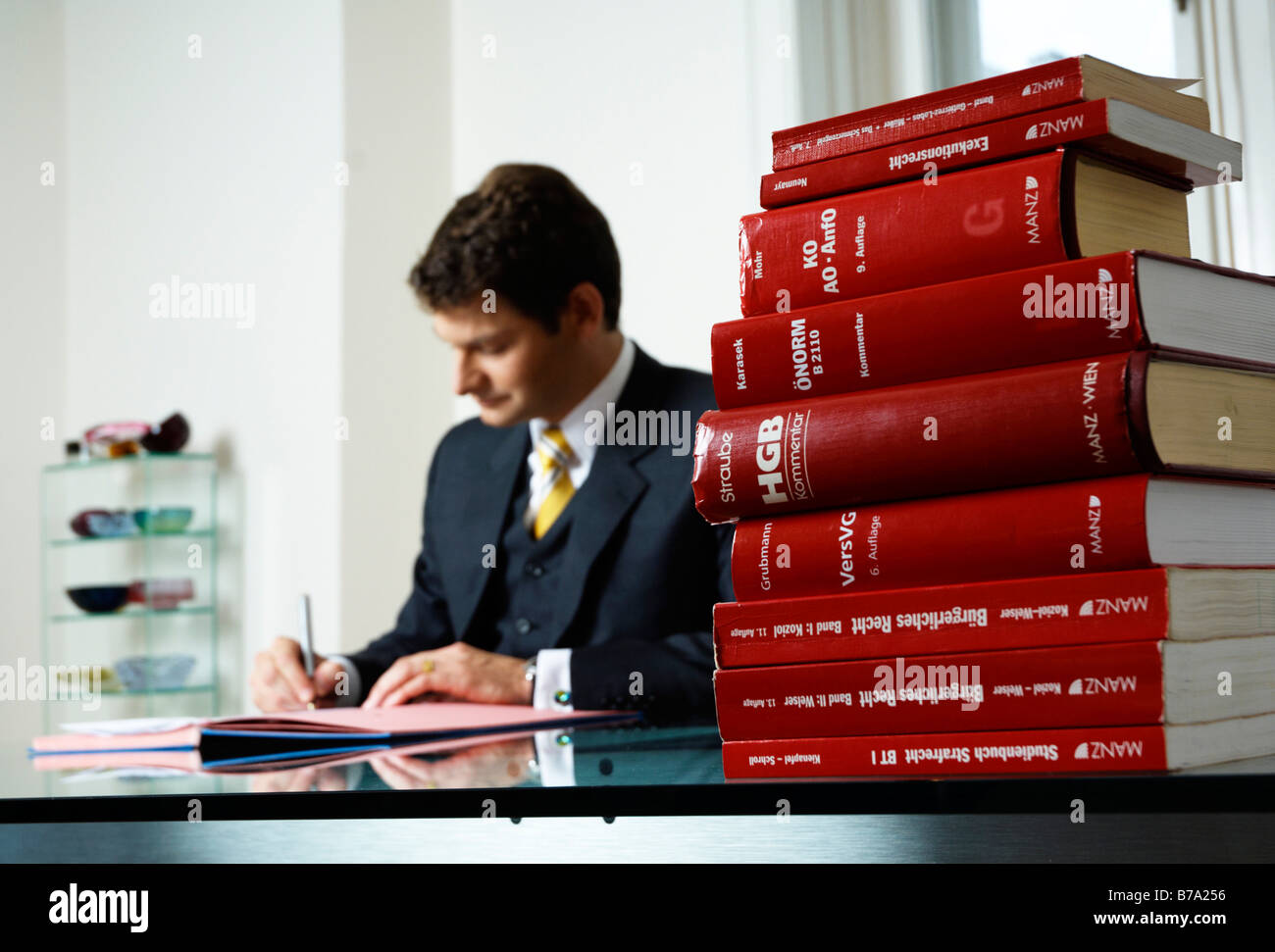 Lawyer, tax consultant, management consultant, signing a file at a desk - Stock Image