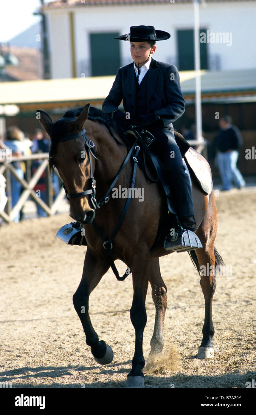 A boy attired in traditional equestrian dress riding a Lusitano horse during the Golegã horse festival in Portugal - Stock Image
