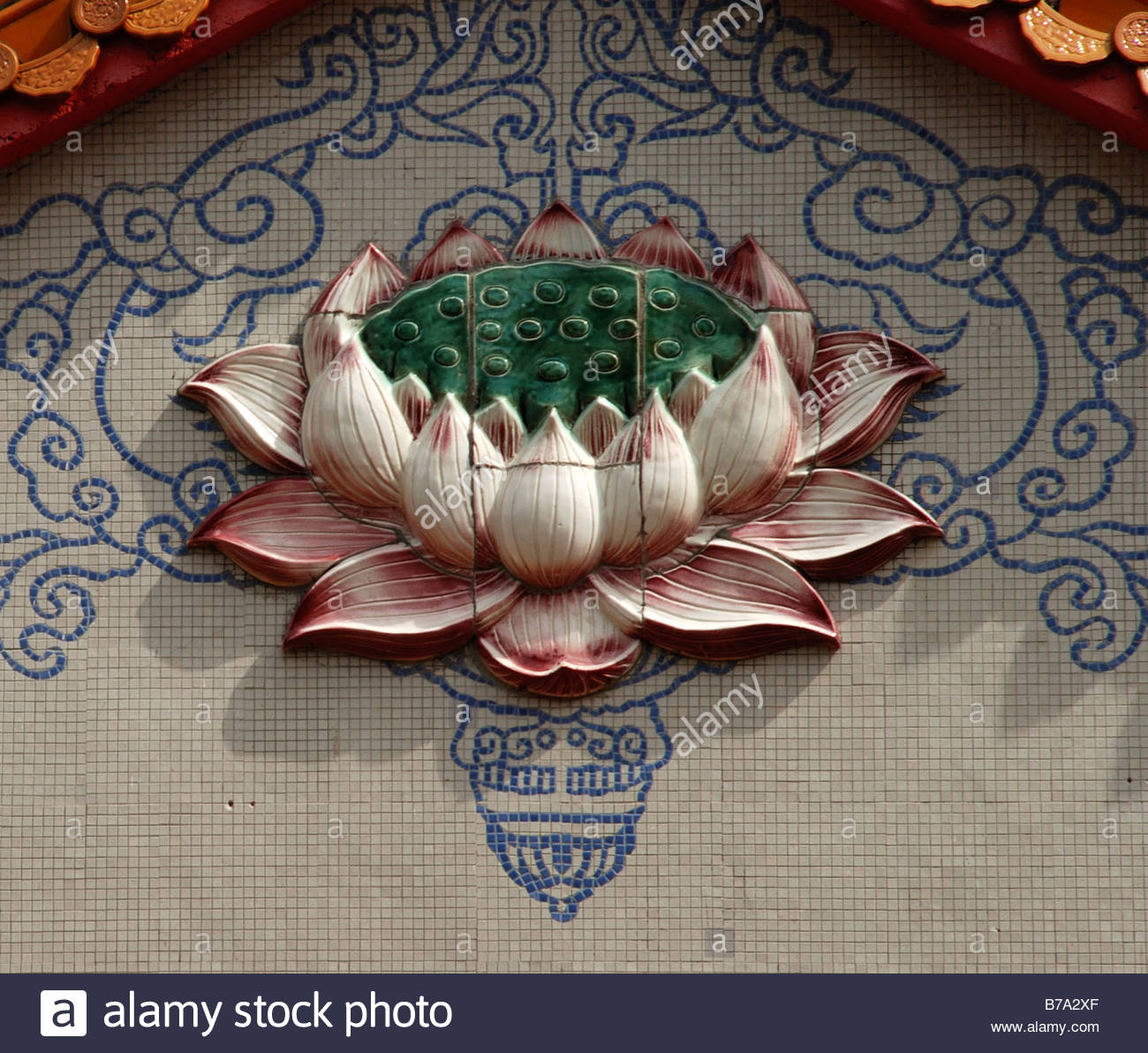 Large ceramic pink lotus flower on the tiled wall of temple sam poh large ceramic pink lotus flower on the tiled wall of temple sam poh buddhist temple binchang cameron highlands pahang malaysia izmirmasajfo