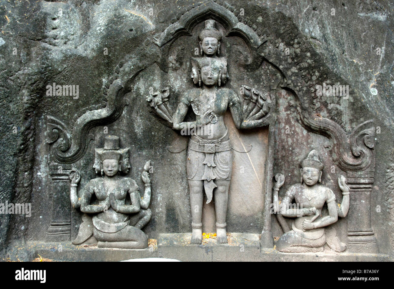 805496e3c3e50 Hinduism, ancient stone relief, Great Trinity or Trimurti with the three deities  Brahma,
