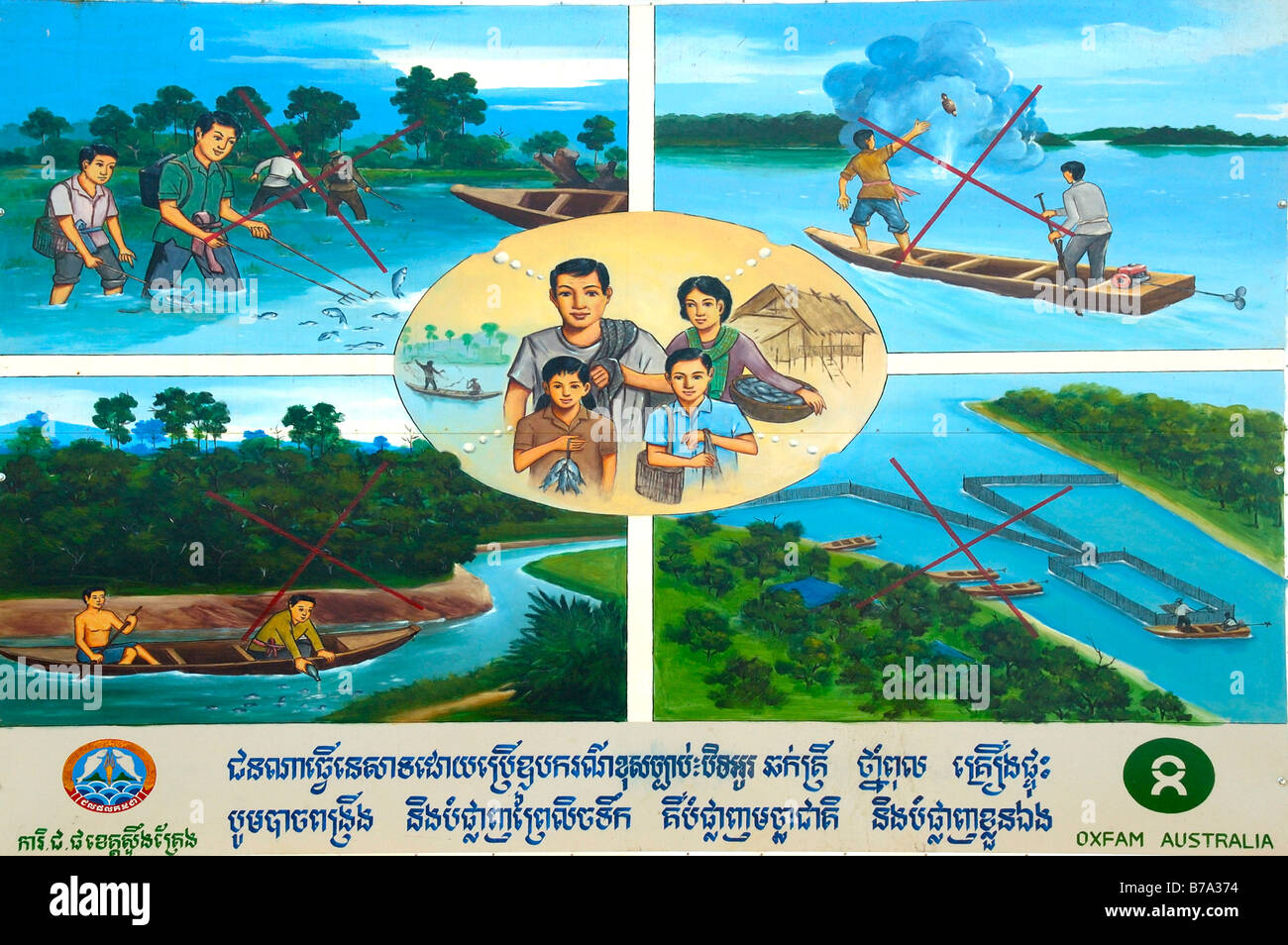 Development aid, Oxfam placard for sustainability of fisheries and water, Stung Treng, Cambodia, South Asia Stock Photo