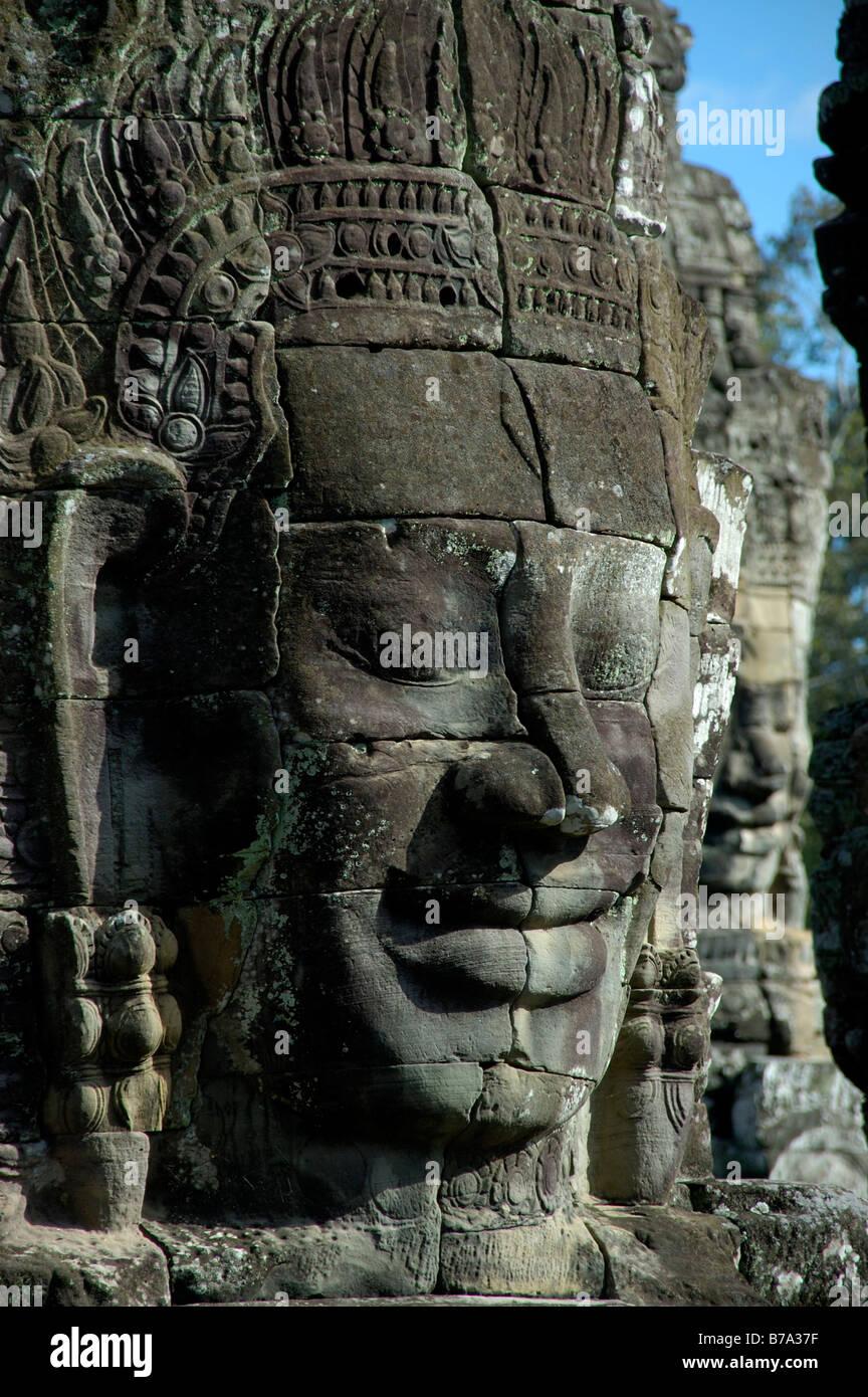 Monumental stone face, Avalokiteshvara and King Jajavaman VII, Bayon, Angkor, Kambodscha, South Asia Stock Photo