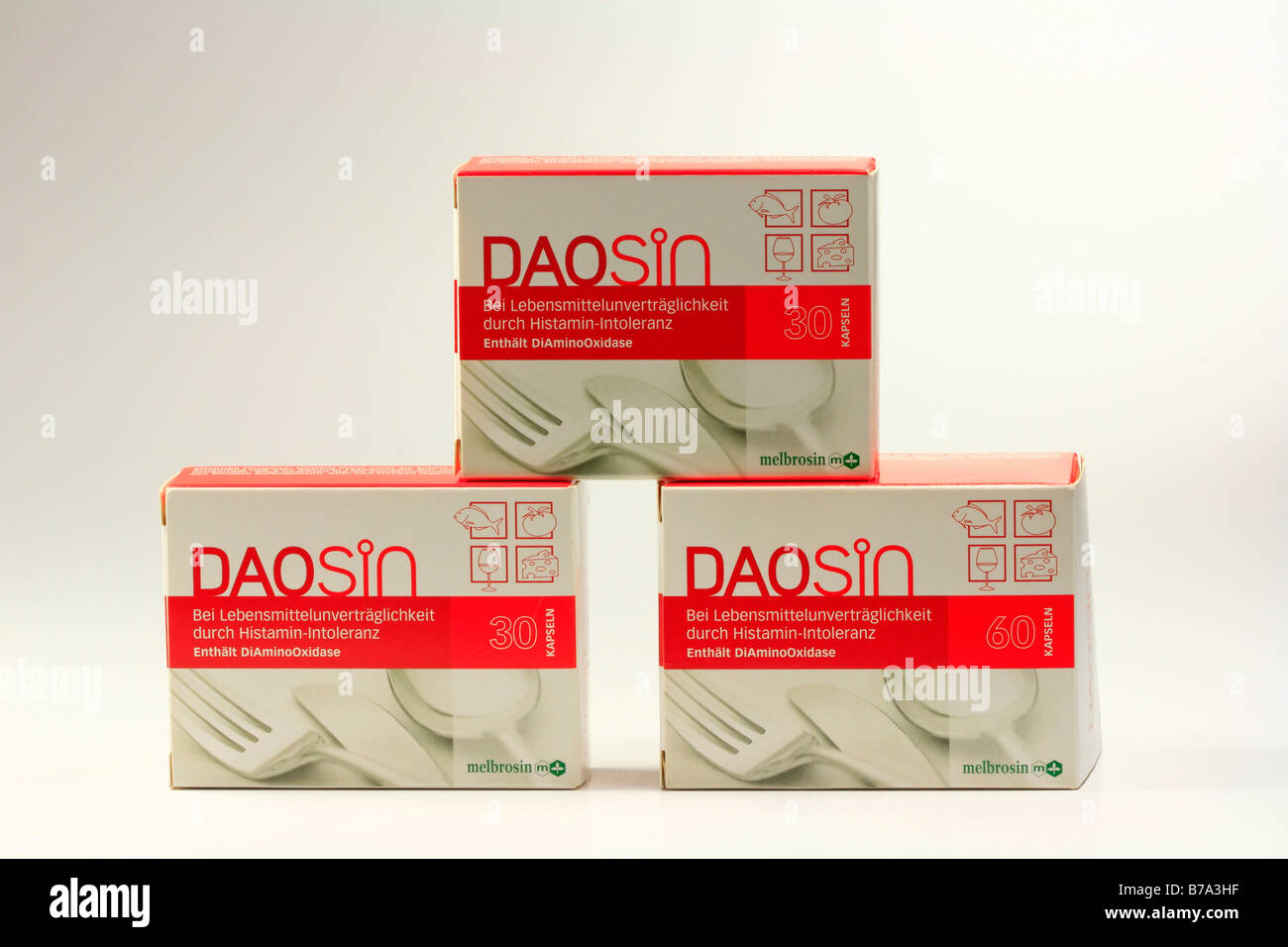 Daosin, dietary supplement, medicinal product for use with histamine intolerance, contains the active substance - Stock Image